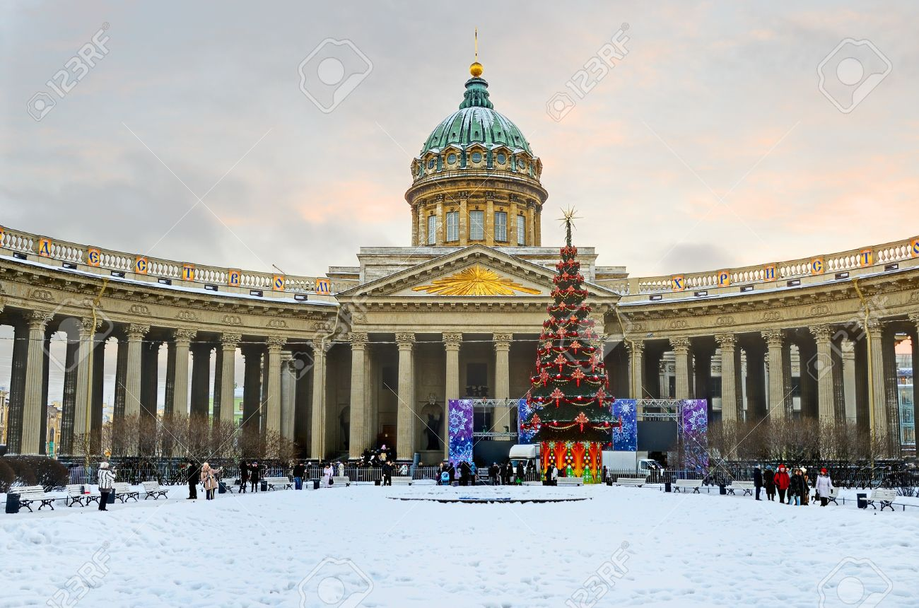 PETERSBURG, RUSSIA-JANUARY 7 Kazan Cathedral In Orthodox Christmas ...