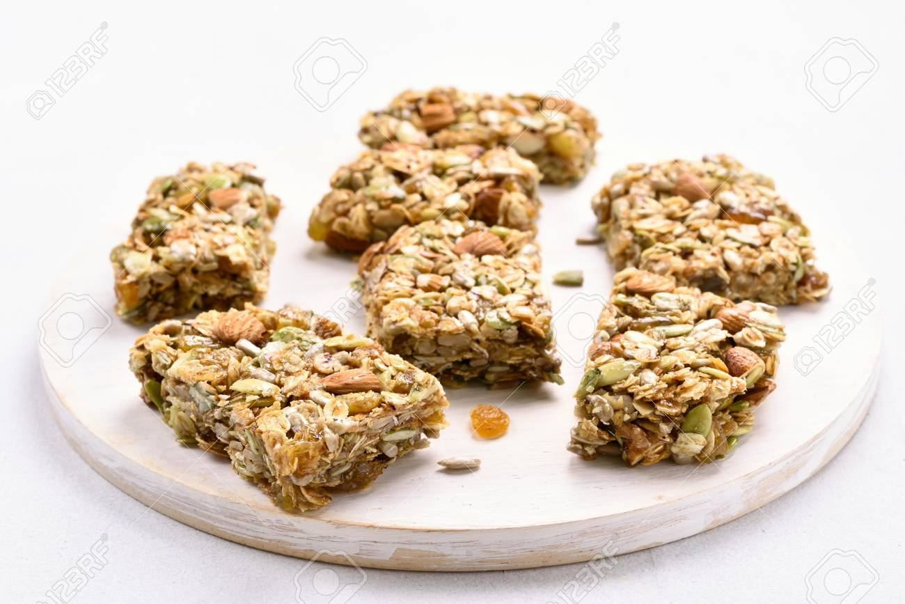 Cereal granola bar  Healthy snack, close up view