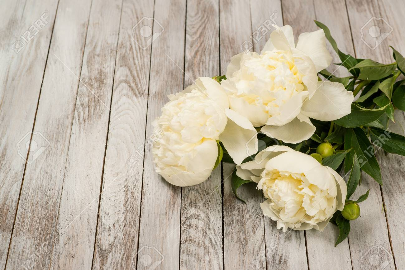 White Peonies Flowers On The White Painted Wooden Planks Place