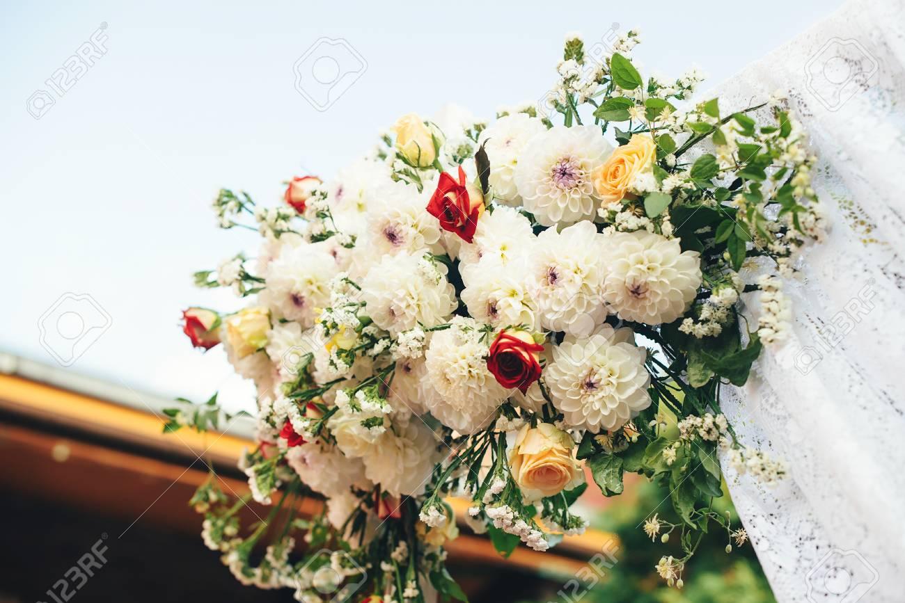Flower decorations for the wedding ceremony outdoor beautiful flower decorations for the wedding ceremony outdoor beautiful bouquet of summer flowers stok fotoraf izmirmasajfo