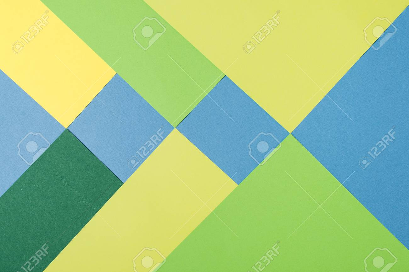 Color Papers Geometry Flat Composition Background With A Yellow ...
