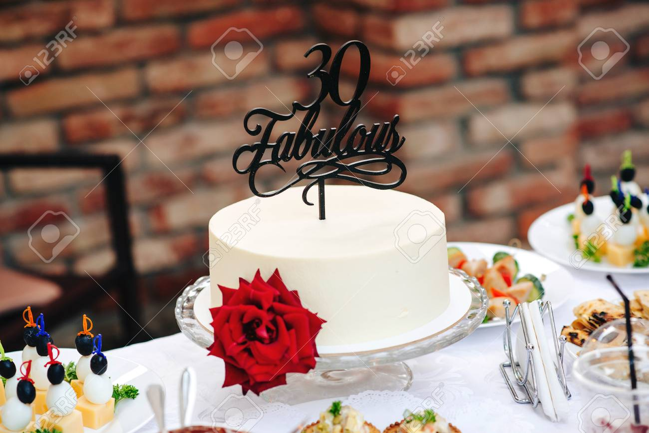 Birthday Cake With Red Rose Fabulous 30 Special Years Old Sweet