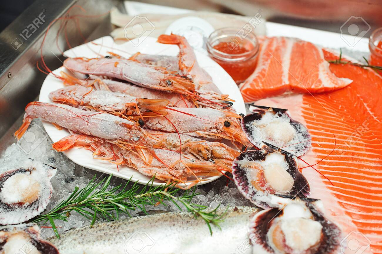 Fish Food At Shop Close Up Raw Fish Ready For Sale In The Supermarket Stock Photo Picture And Royalty Free Image Image 154152895
