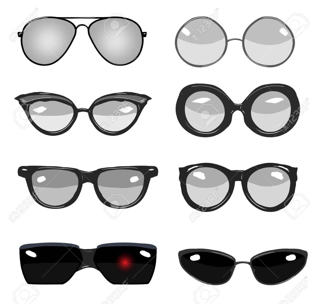 Colección De Gafas De Moda Retro Del Vector En Blanco Y Negro ... 4896714d2e51
