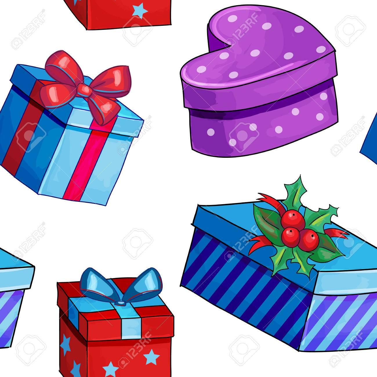 Estilo De Dibujos Animados Regalos De Navidad Y Regalos Azul Sin