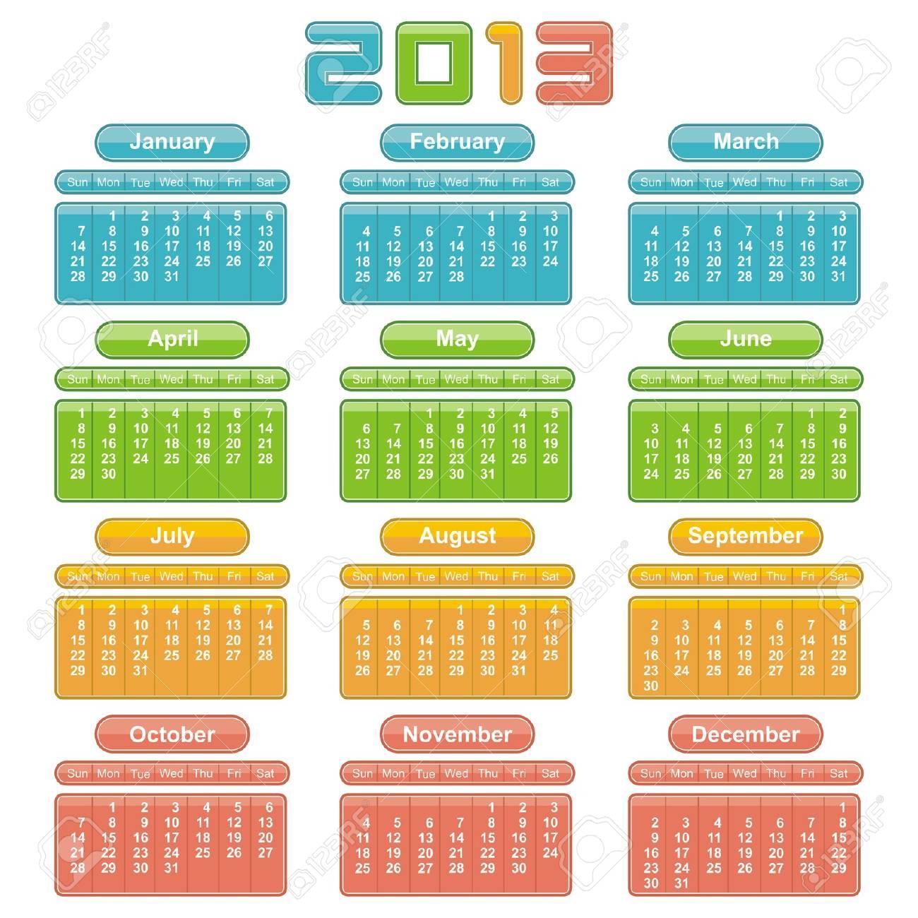 2013 Calendar. Vector Design Stock Vector - 16251780