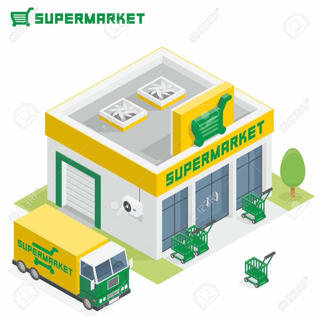 Supermarkt gebäude clipart  Supermarket Building Royalty Free Cliparts, Vectors, And Stock ...