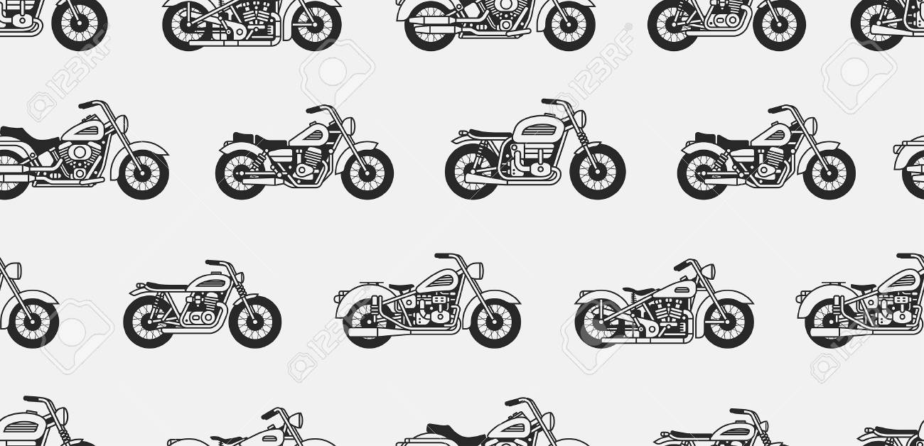 Seamless pattern with vintage motorcycles black silhouettes. isolated on gray background - 102233733