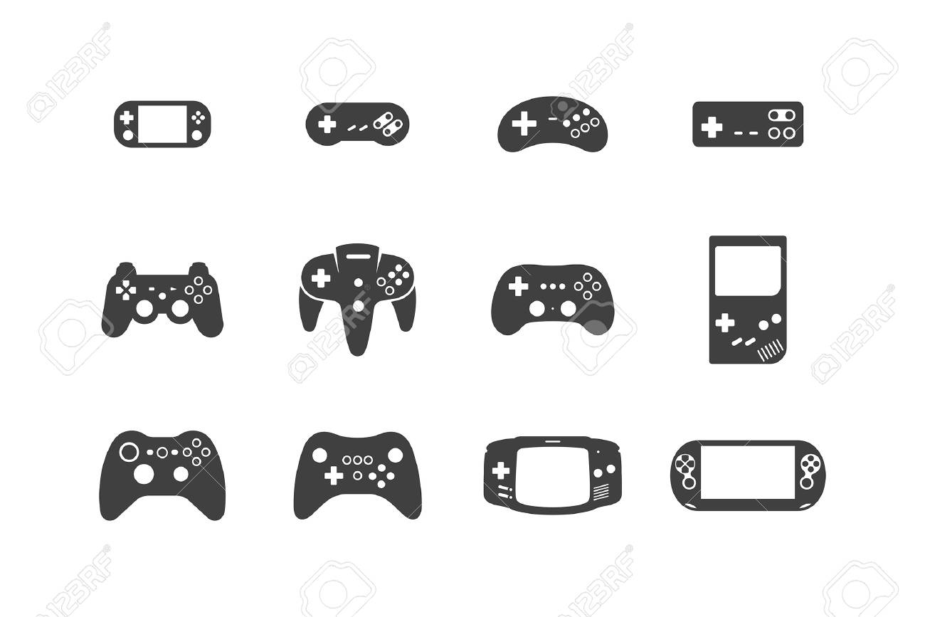 Video Games Joystick Icons Set Silhouette Black Isolated On White