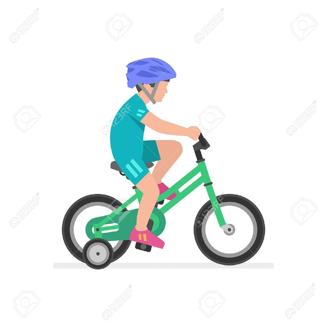 Boy riding bike isolated on white background - 122502456