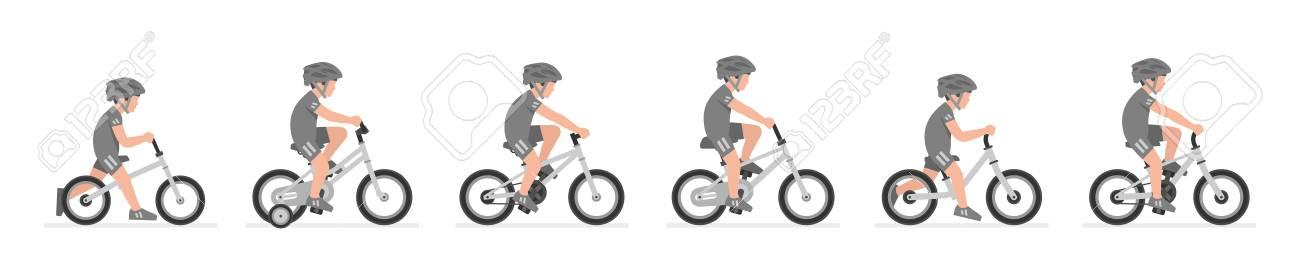 Set of Boys riding bike isolated on white background - 122504173