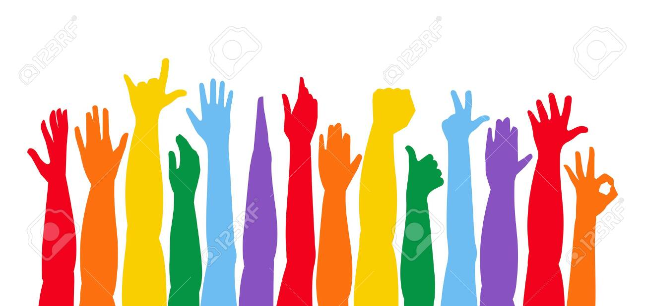Colorful Hands Up. Raised hands. isolated on white background - 127177376