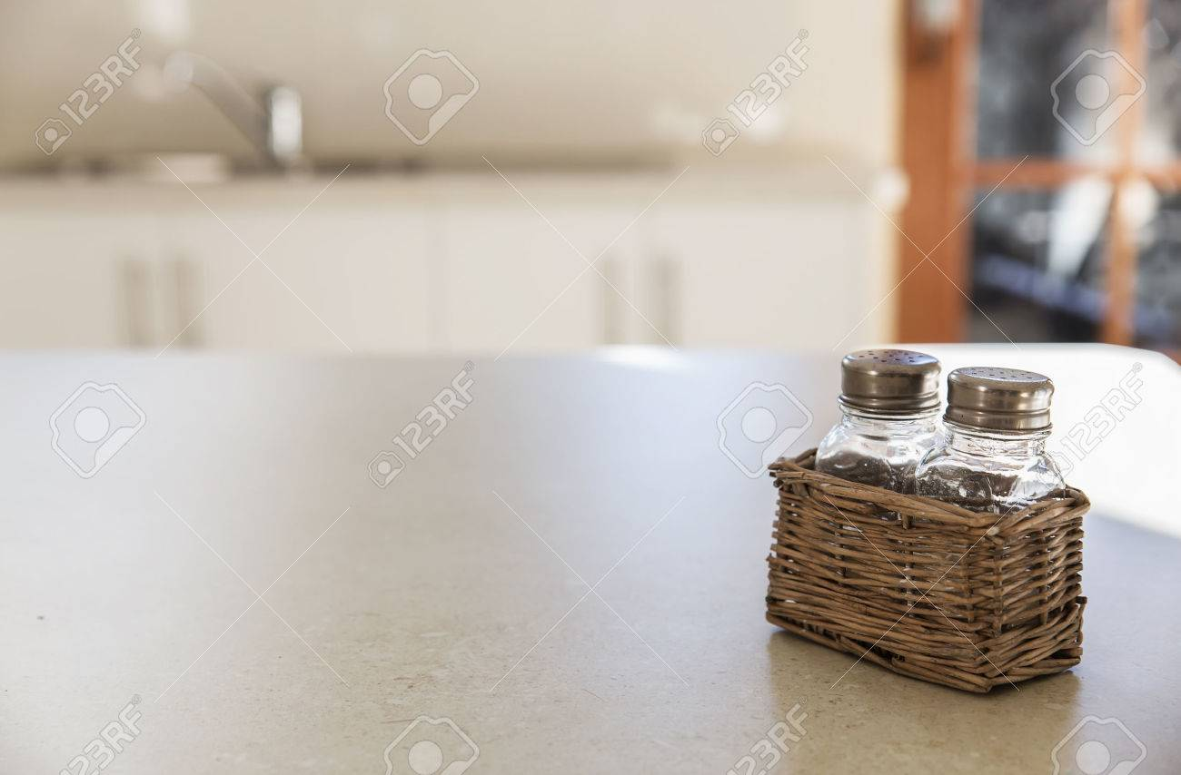 Kitchen Table Top Background kitchen background. tabletop and retro salt and pepper shakers