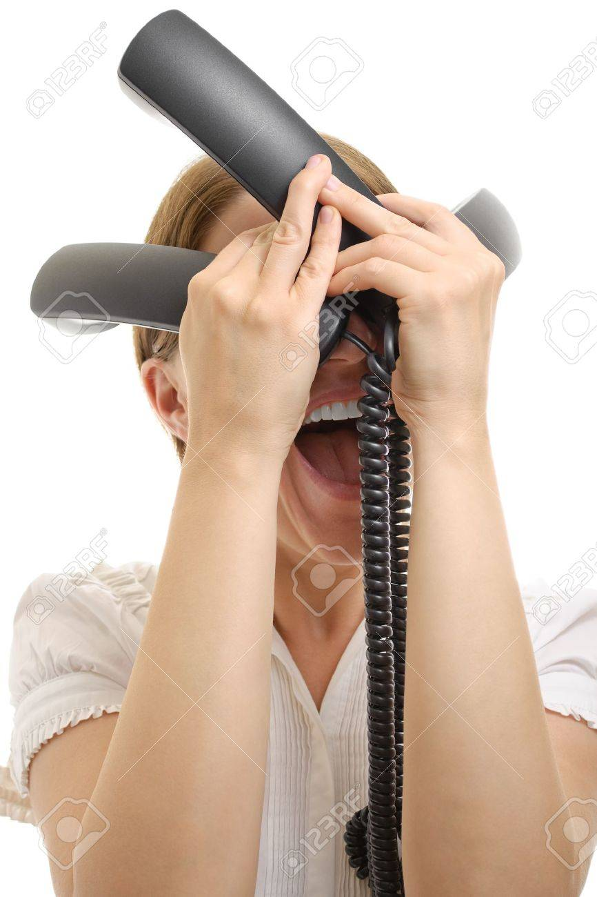 Angry businesswoman shouting with three phone receivers Stock Photo - 15413373