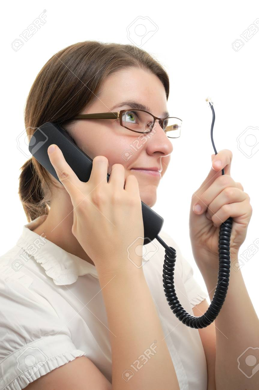Businesswoman with Phone Receiver and cord on white background Stock Photo - 15413374