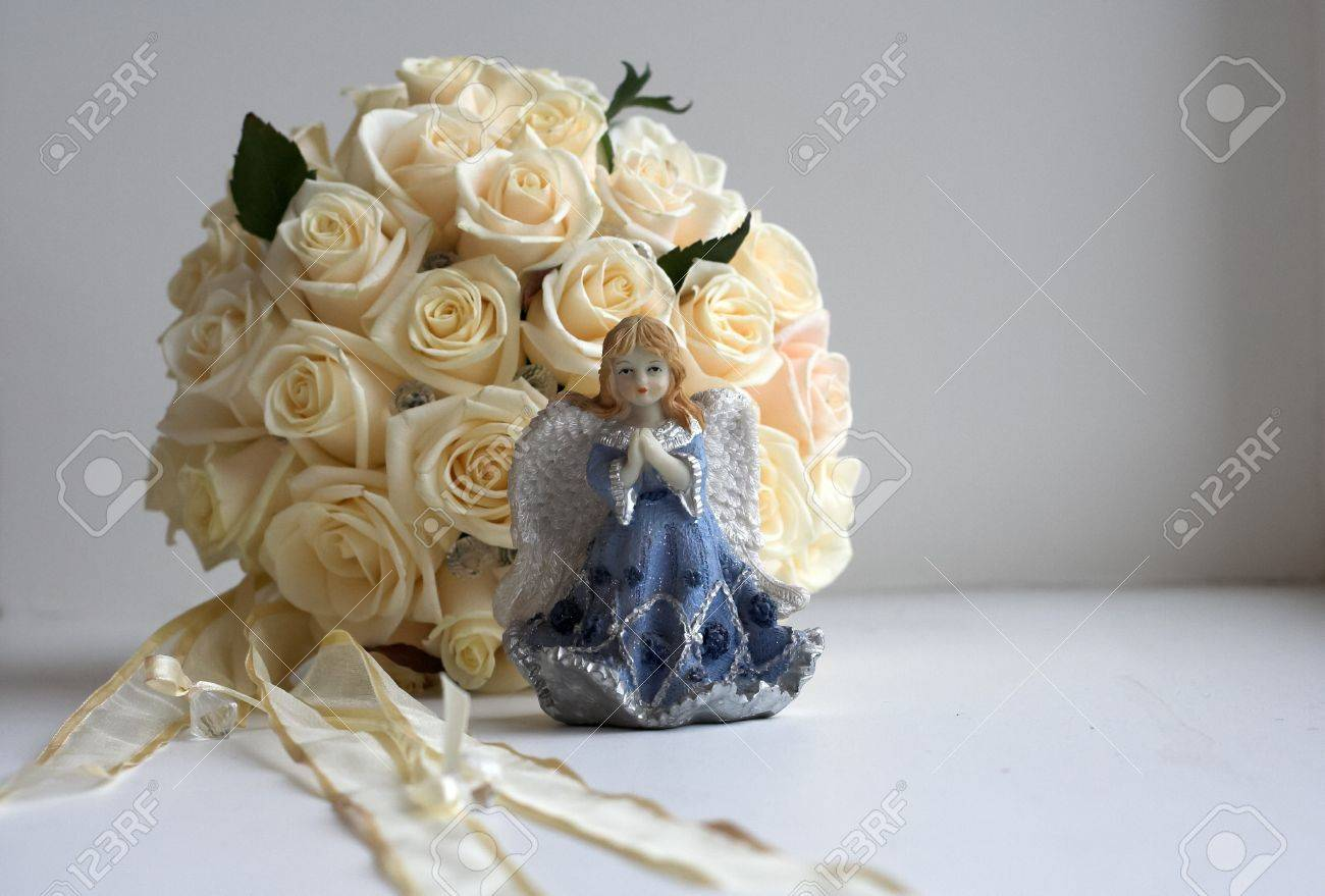 Brides Round Bouquet On Table In The Room Stock Photo Picture And