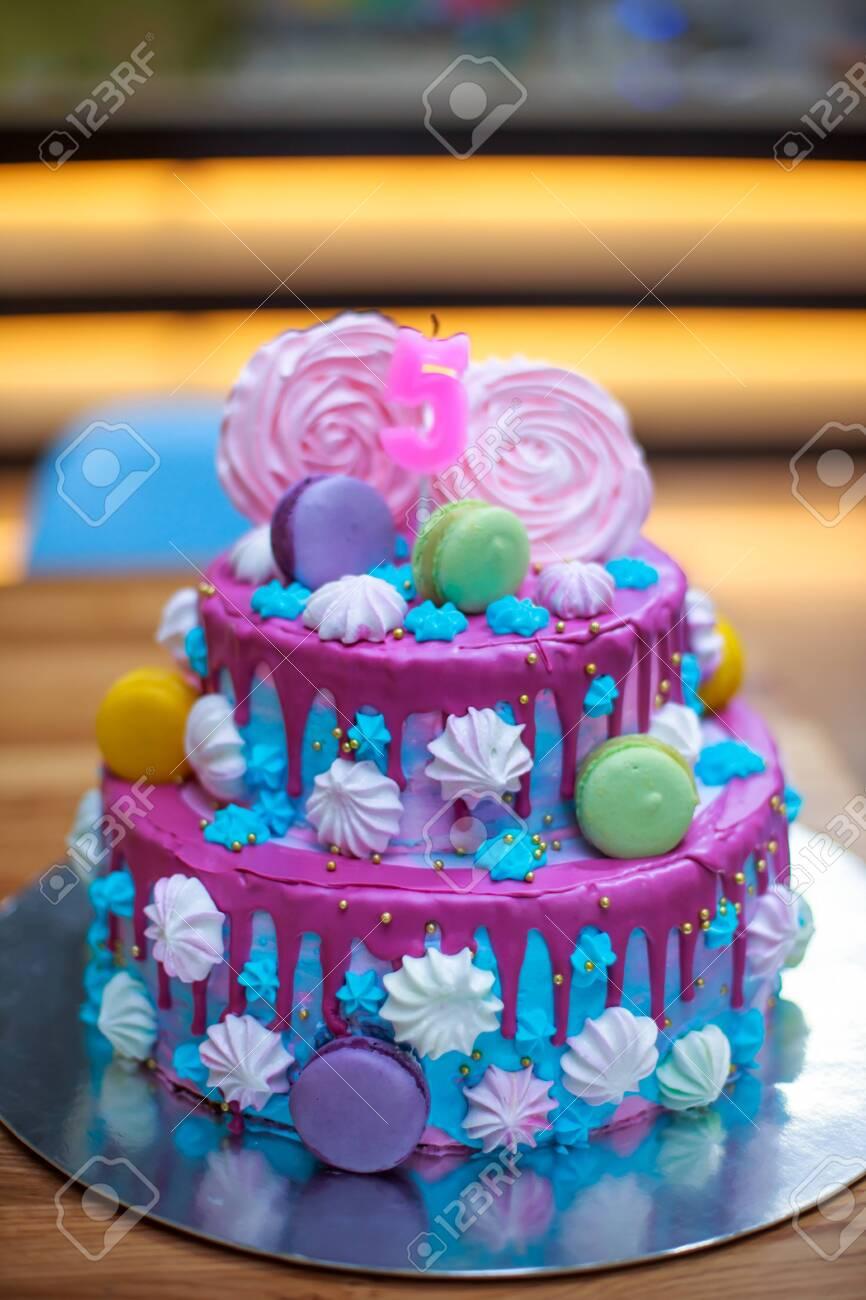 Remarkable Colourful Fresh Macaroons On Beautiful Cake For Child S Birthday Personalised Birthday Cards Akebfashionlily Jamesorg