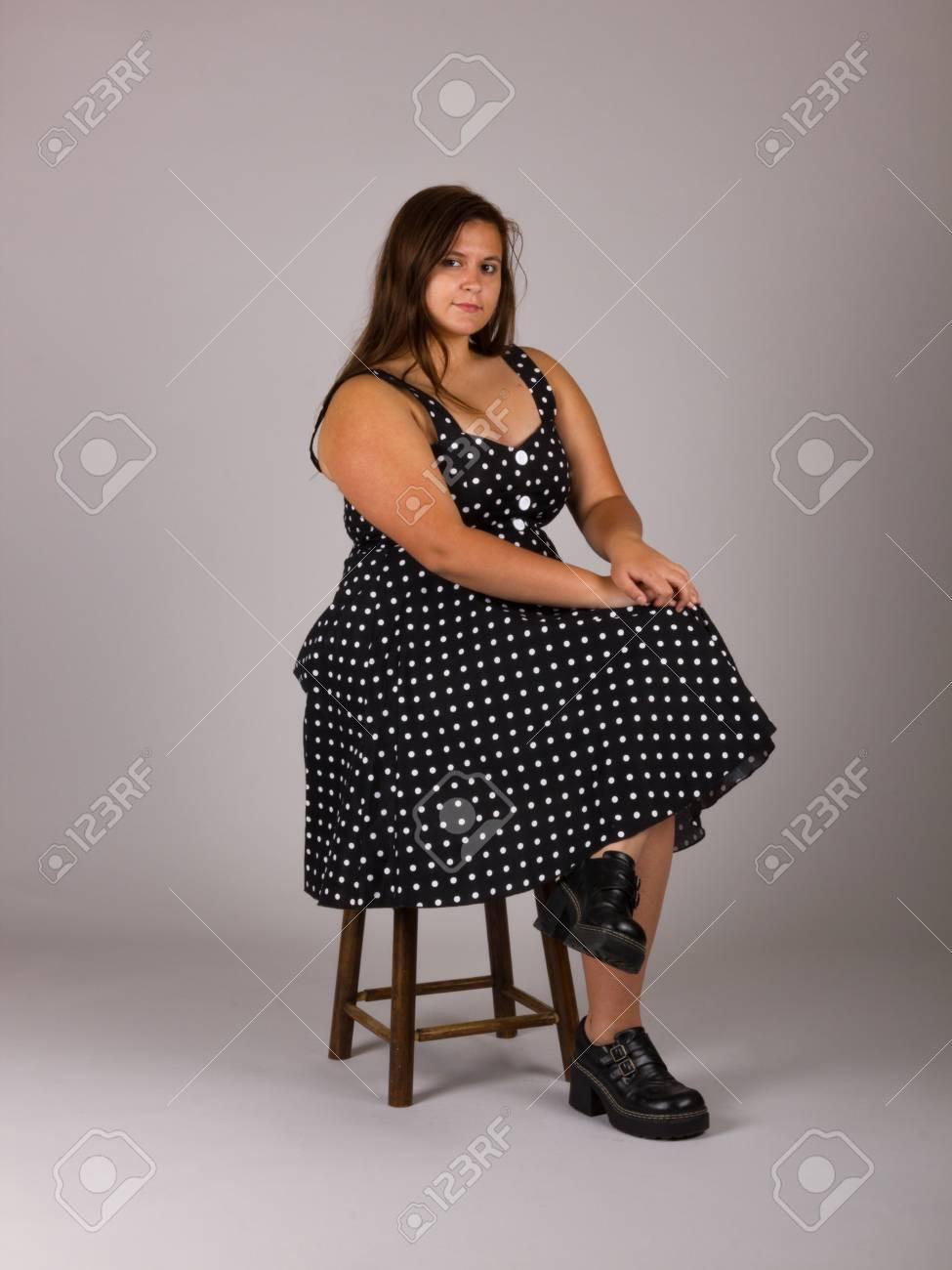 3c4728936ac6b Beautiful Curvy Teenage Girl in Polkadot Dress and Black Shoes Stock Photo  - 95295686