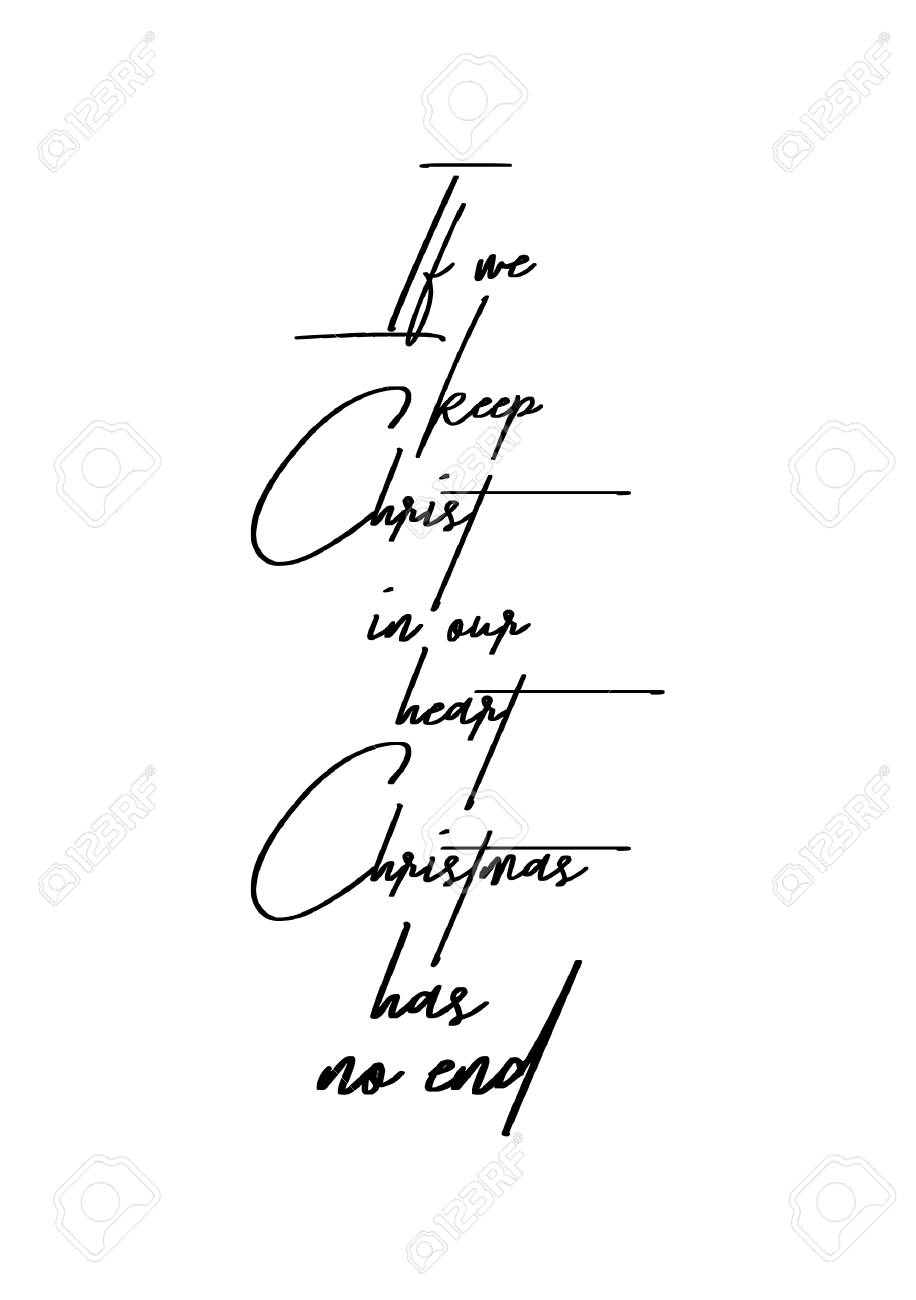 Christmas Greeting Card With Brush Calligraphy. Vector Black ...