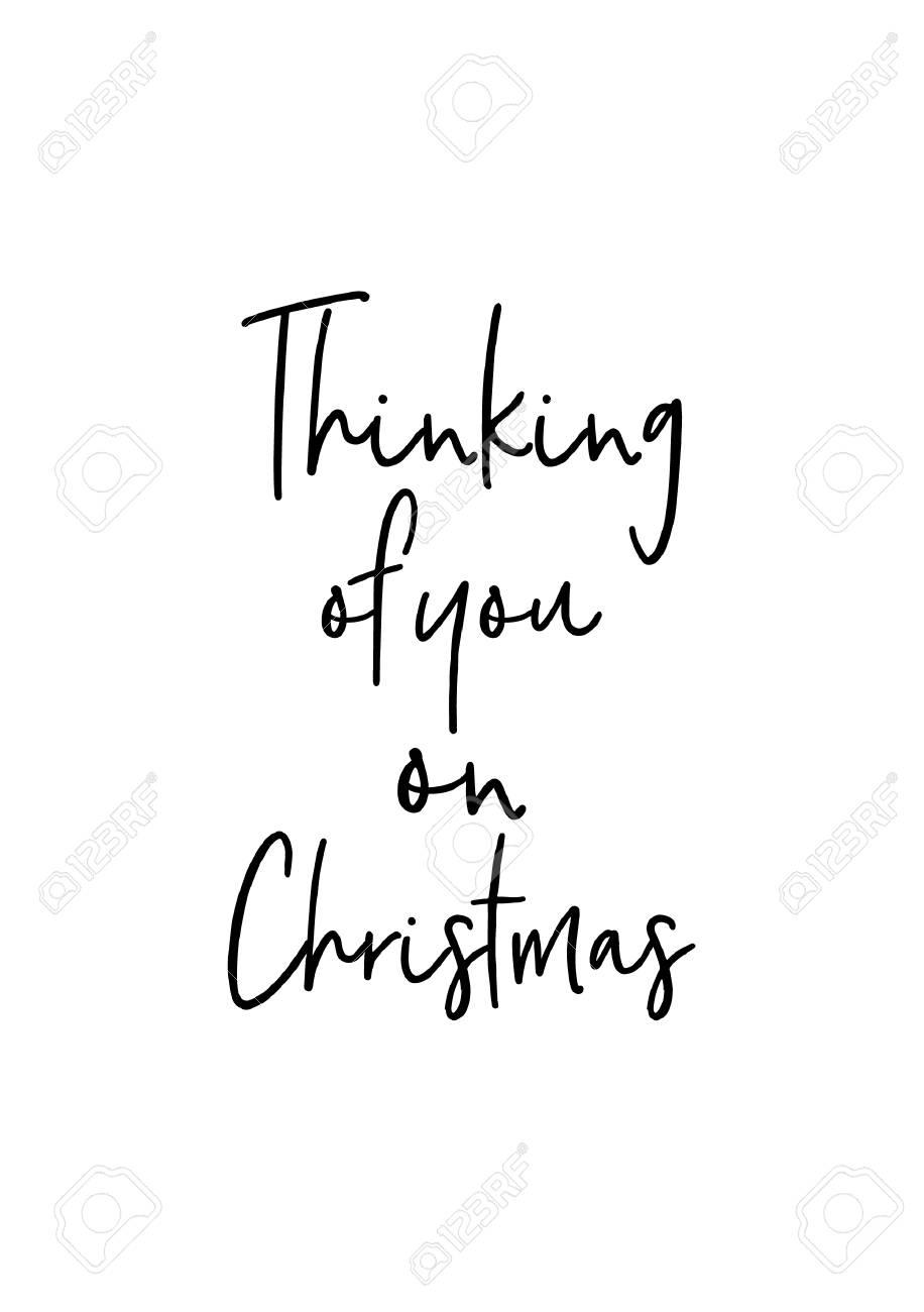 Auguri Di Natale 105.Biglietto Di Auguri Di Natale Con Pennello Calligrafia Vector Nero Con Sfondo Bianco Pensando A Te A Natale