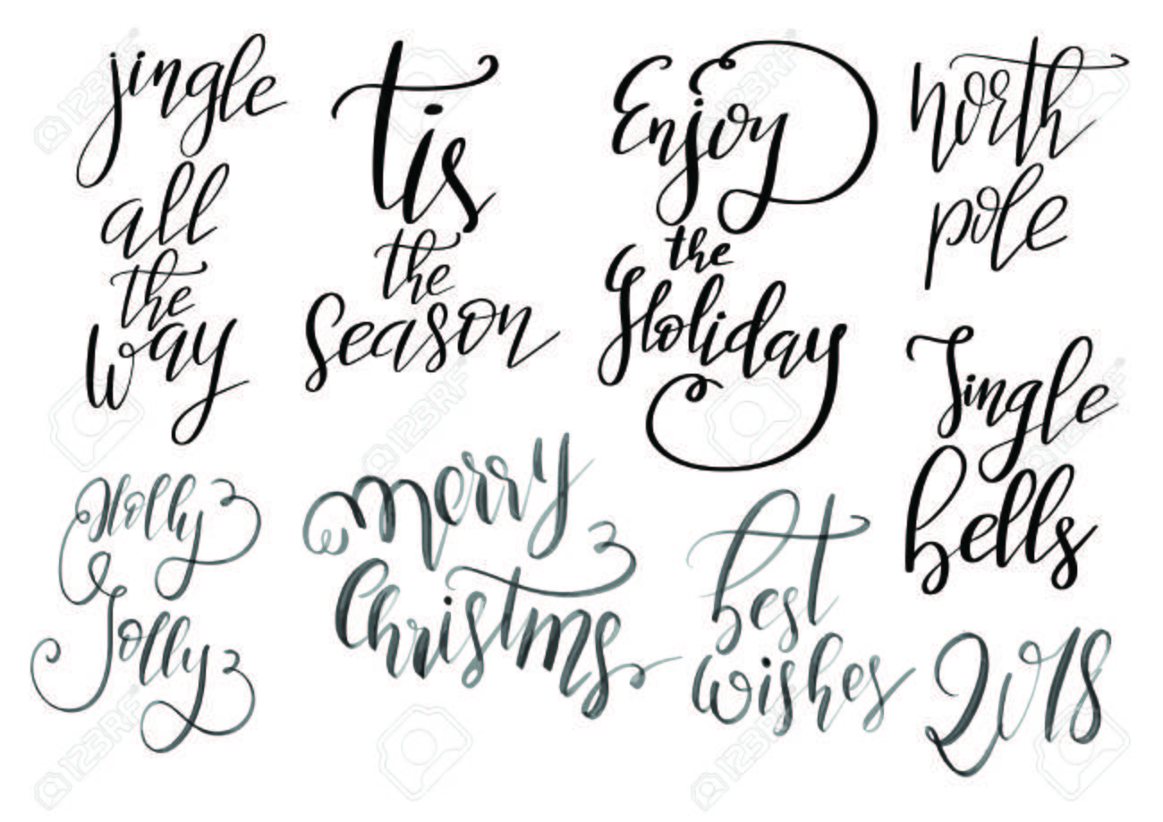 set of merry christmas and happy new year vintage hand drawn