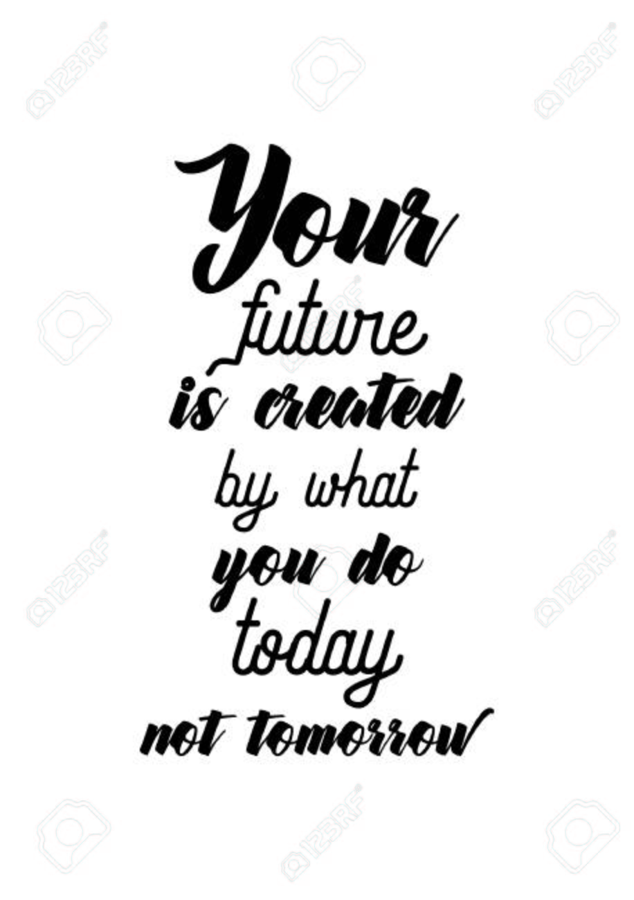 Life Quote. Isolated On White Background. Your Future Is Created By What  You Do