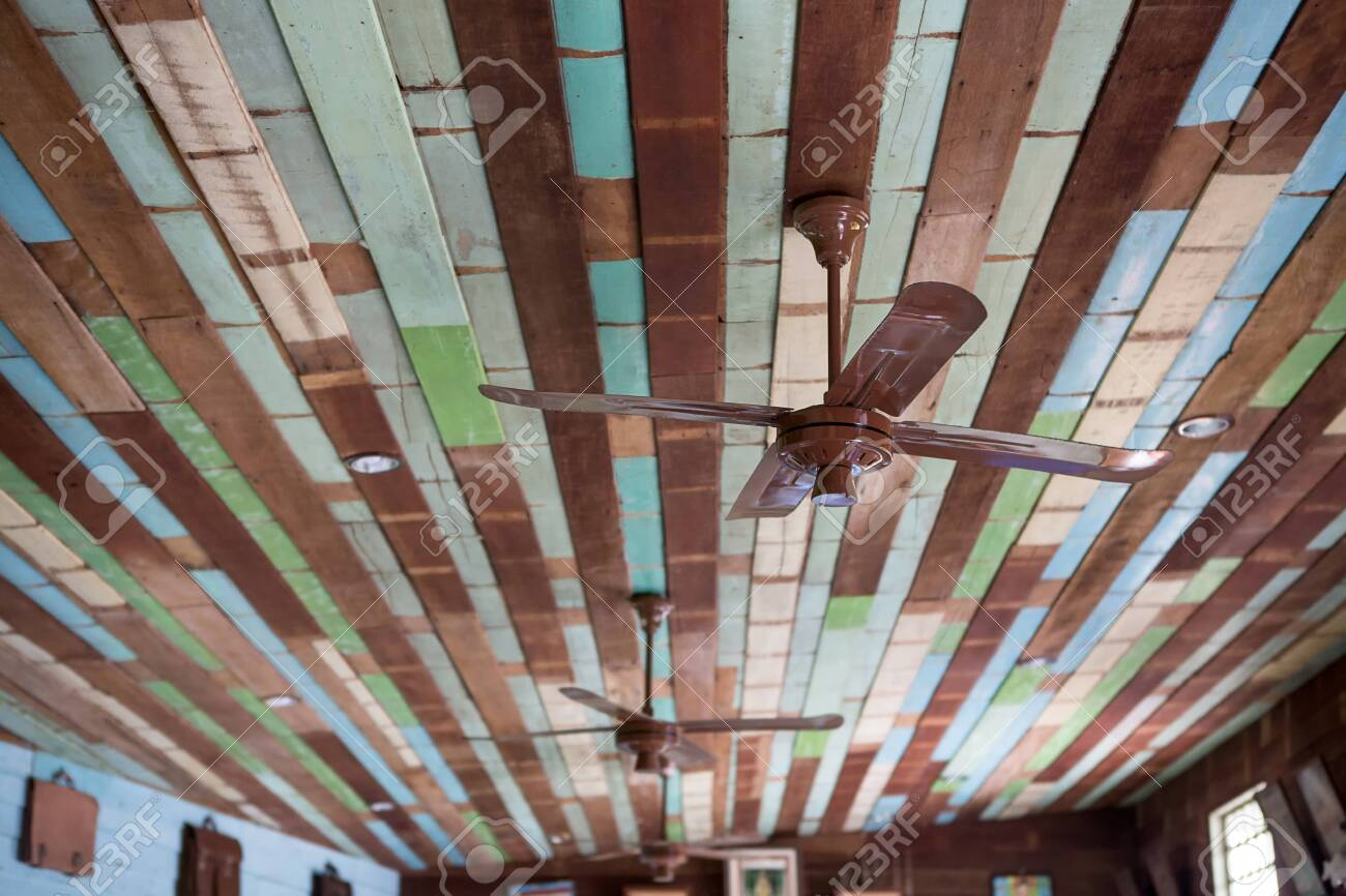 Old Fan On Colorful Wood Ceiling Stock Photo Picture And Royalty Free Image Image 96986453