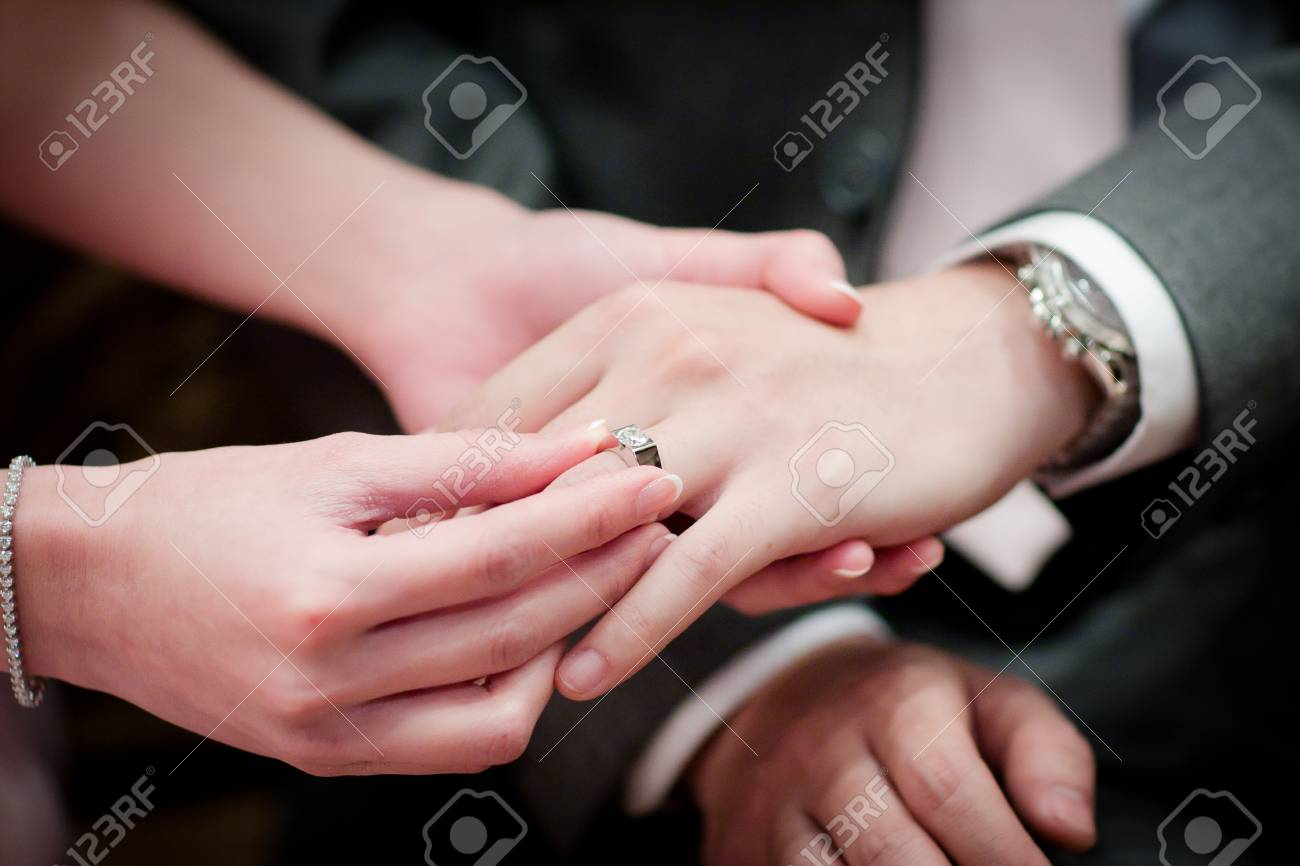 Close Up Wedding Ring Exchange Stock Photo, Picture And Royalty Free ...