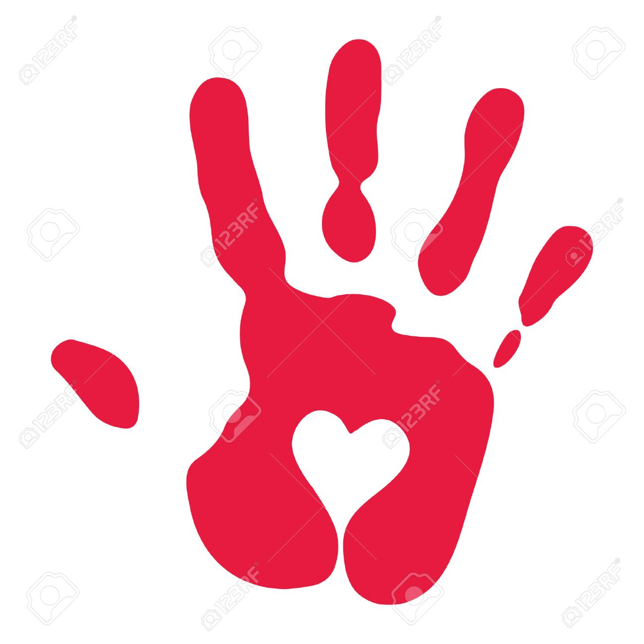 red handprint with heart symbol royalty free cliparts vectors and rh 123rf com hand print vector art handprint vector free
