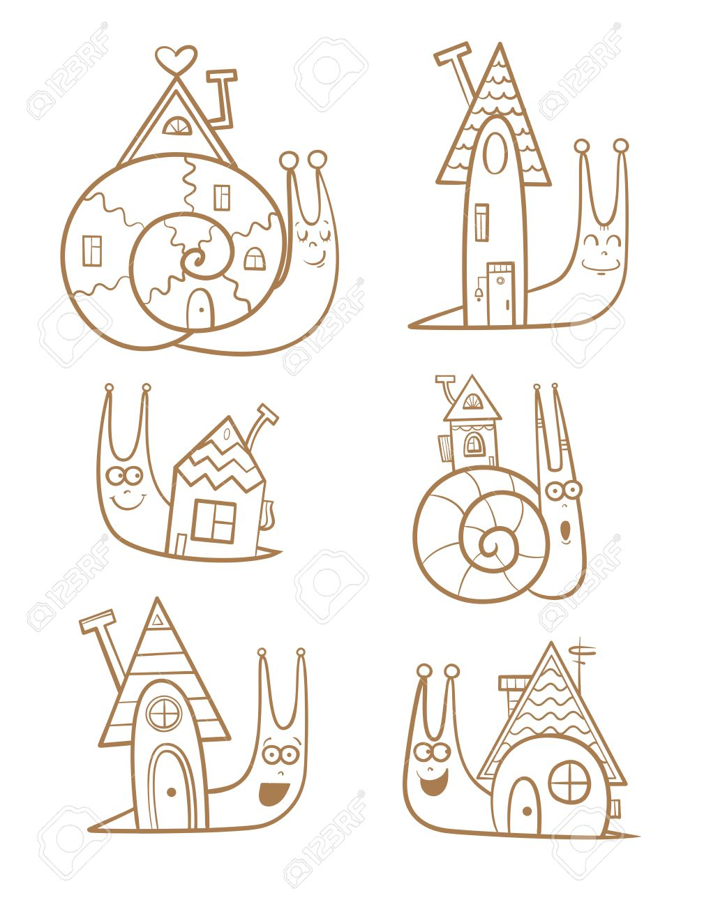 Cute Cartoon Snails And Their Houses Set Sweet Home Childrens Illustration Transparent Background