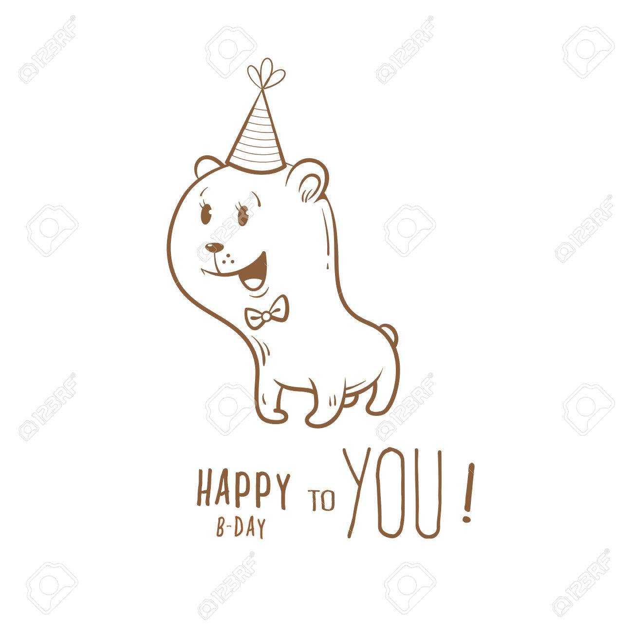 Birthday Card With Cute Cartoon Bear In Party Hat Little Funny Animal Childrens Illustration