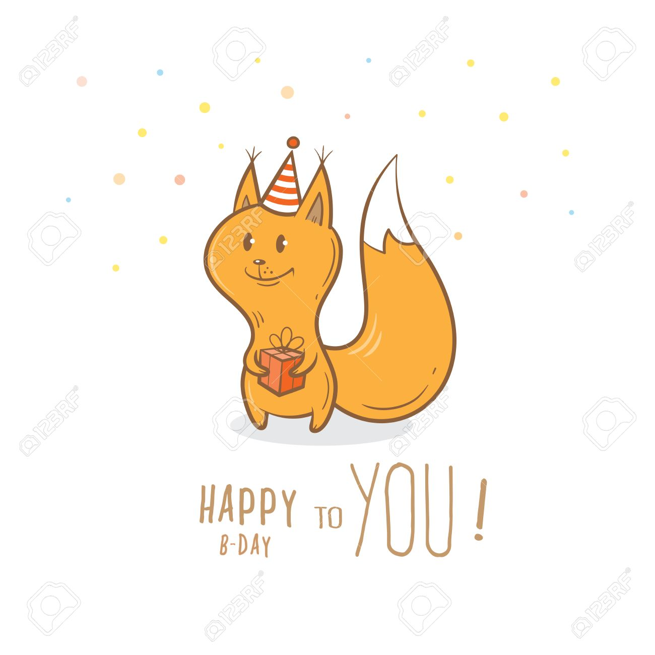 Birthday Card With Cute Cartoon Squirrel In Party Hat Little Funny Animal Childrens Illustration
