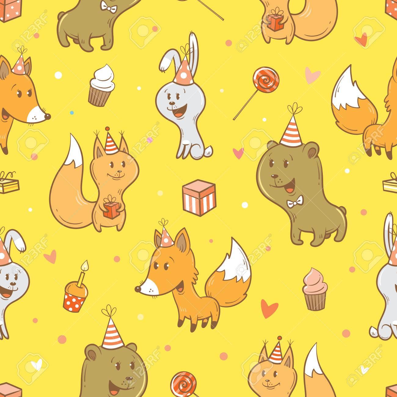 Nahtlose Muster Mit Niedlichen Cartoon Fuchse Hasen Eichhornchen