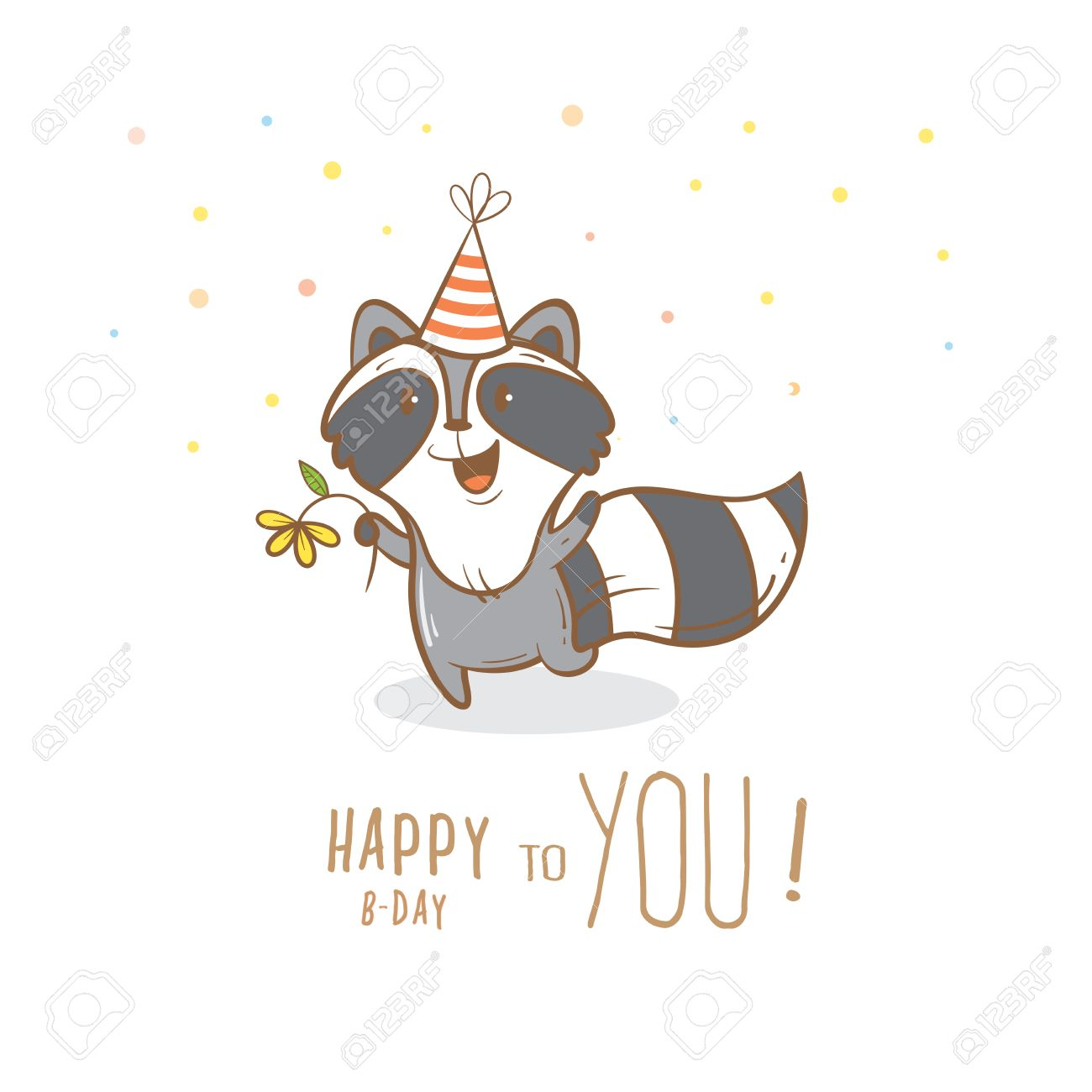 Birthday Card With Cute Cartoon Raccoon In Party Hat Little Funny Animal Childrens Illustration