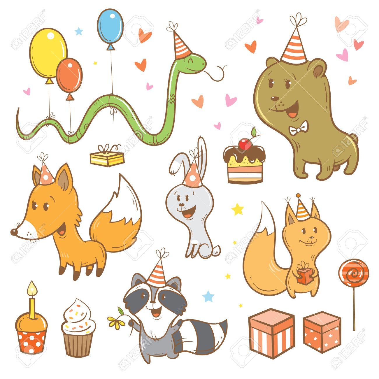 Cartoon Geburtstag Eingestellt Lustige Waldtiere Netter Fuchs Bar