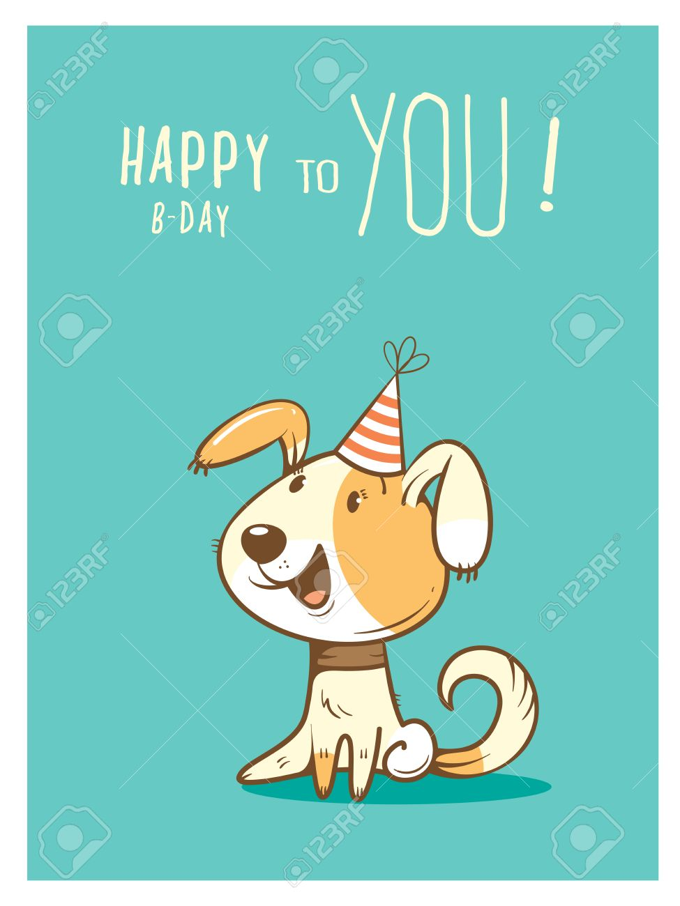 Birthday Card With Cute Cartoon Dog In Party Hat Vector Contour Colorful Image Little