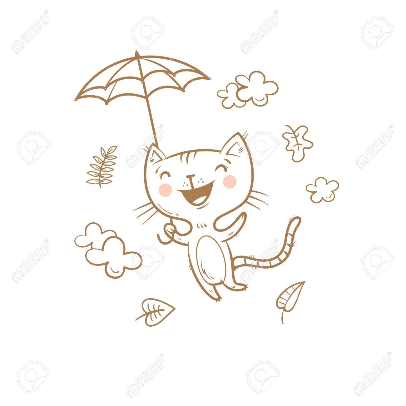 Image of: Pictures Cute Cartoon Cat Under An Umbrella Flying Kitten Autumn Season Windy Weather And 123rfcom Cute Cartoon Cat Under An Umbrella Flying Kitten Autumn Season