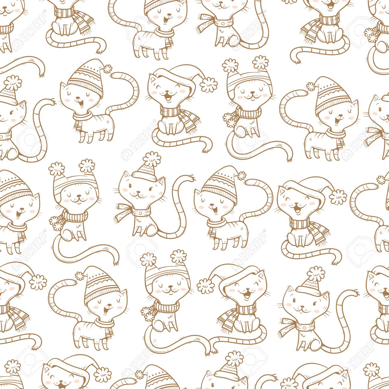 Seamless Pattern With Cute Cartoon Cats In Knitted Scarves And ...