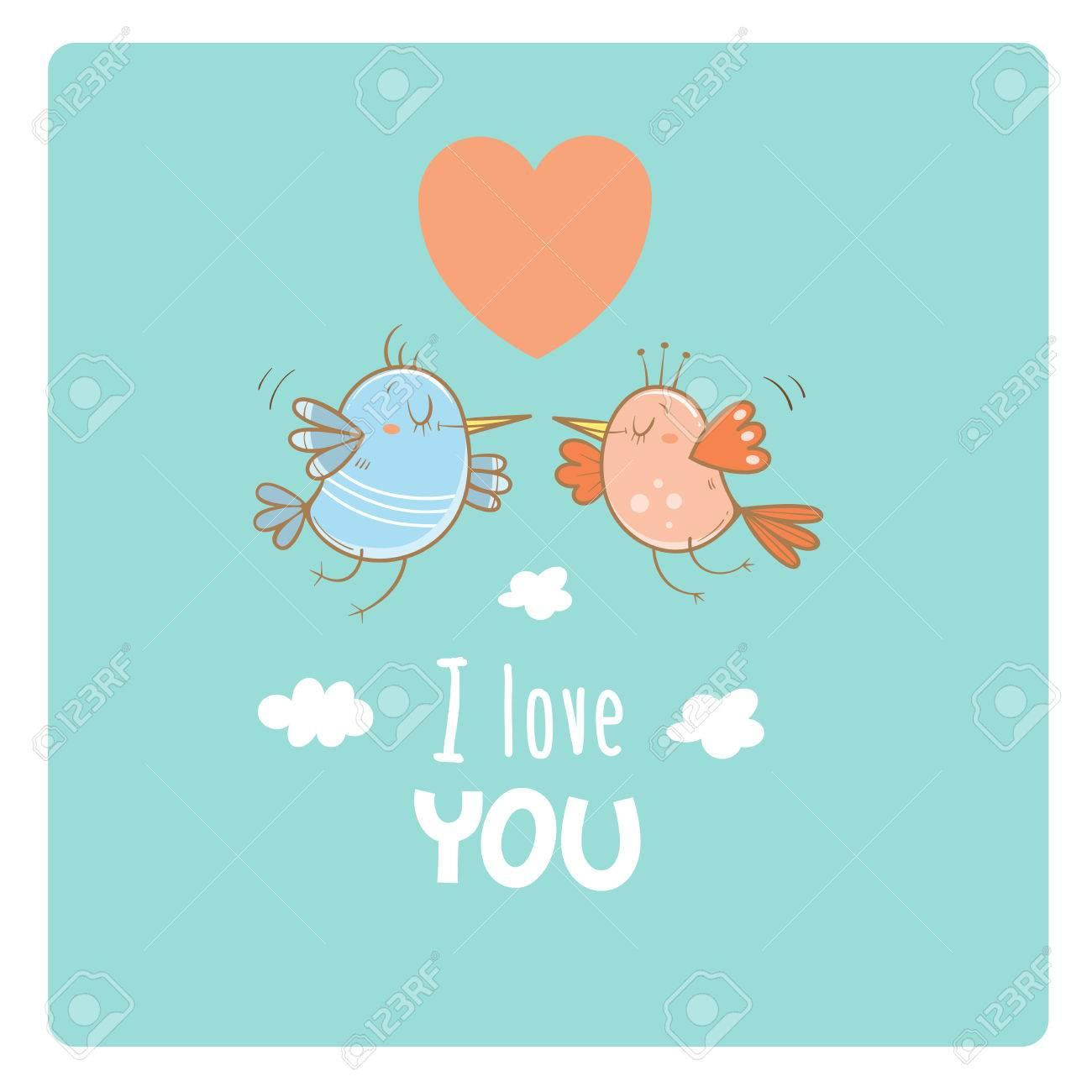 Karte Von Valentinstag Verliebtes Parchen Nette Karikaturvogel