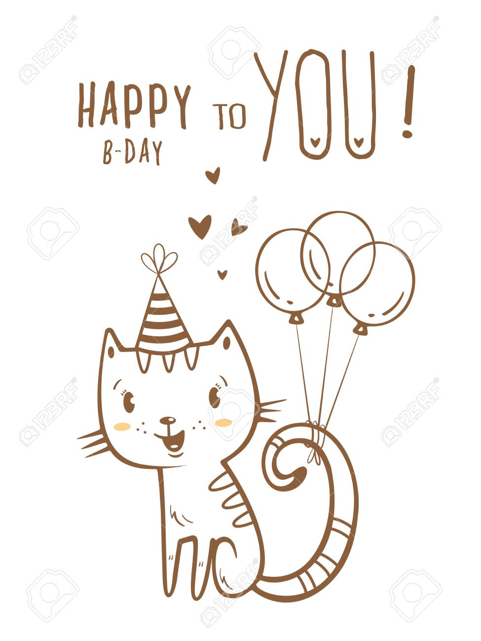 Birthday Card With Cute Cartoon Cat In Party Hat Stock Vector