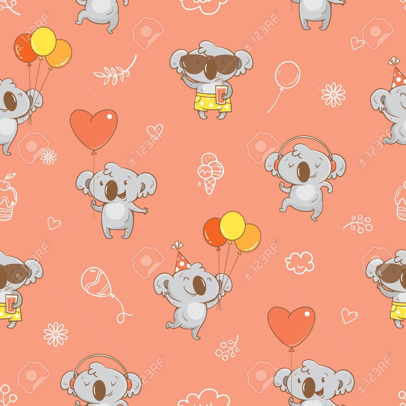Most Inspiring Wallpaper Koala Cartoon - 99555256-seamless-pattern-with-cute-cartoon-koalas-on-pink-background-vector-contour-image-little-funny-baby-  Pic_94322   .jpg