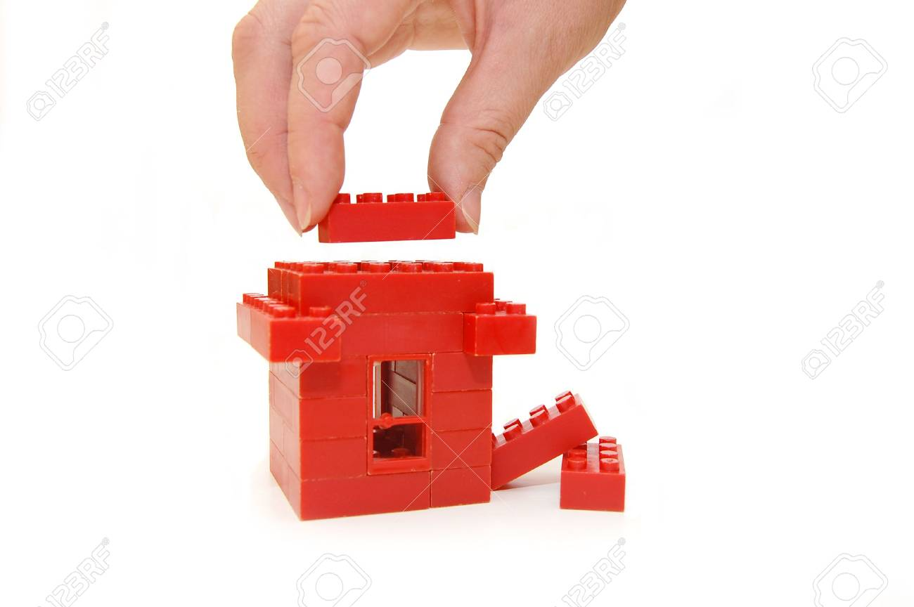 Small house constructed of red toy blocks Stock Photo - 4986944