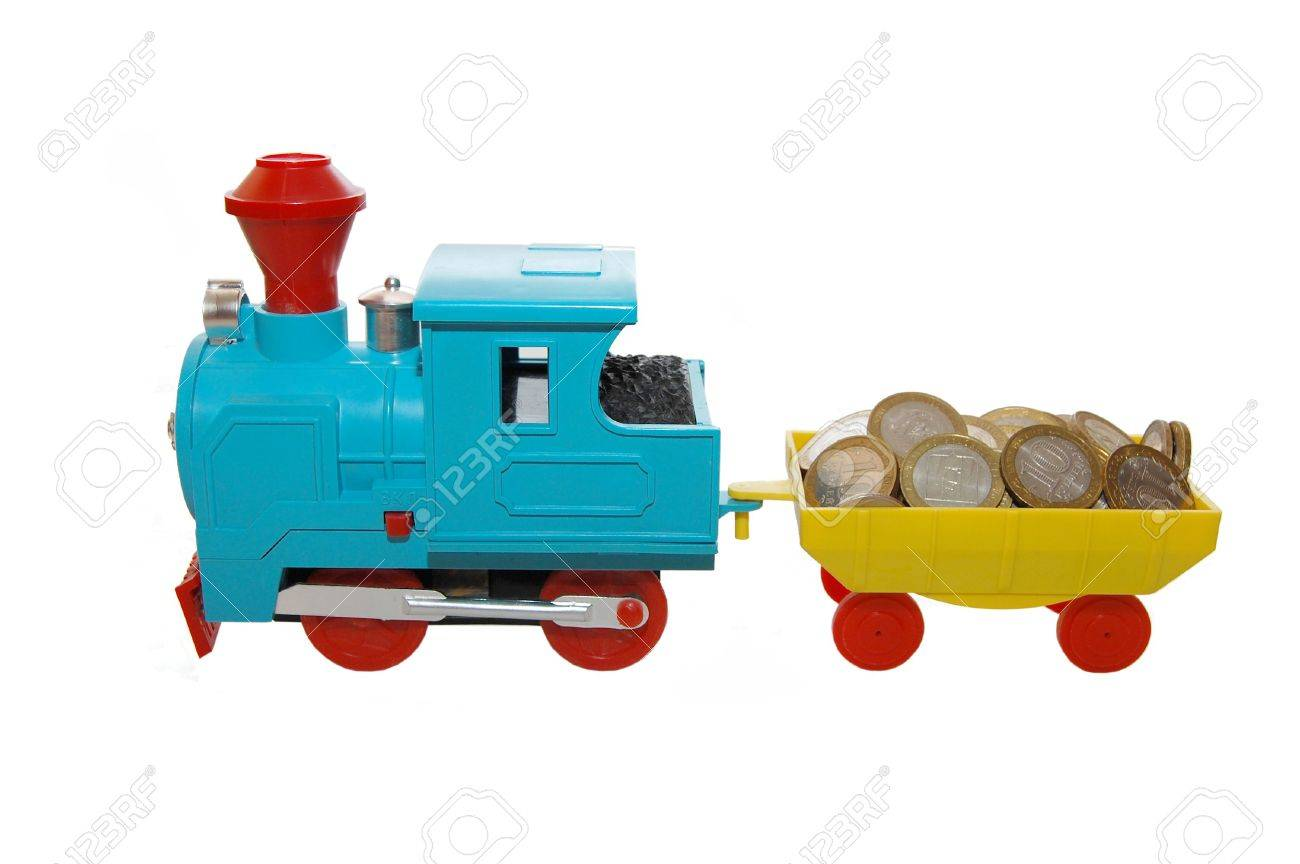 Toy train carrying coins on a white background Stock Photo - 5097045