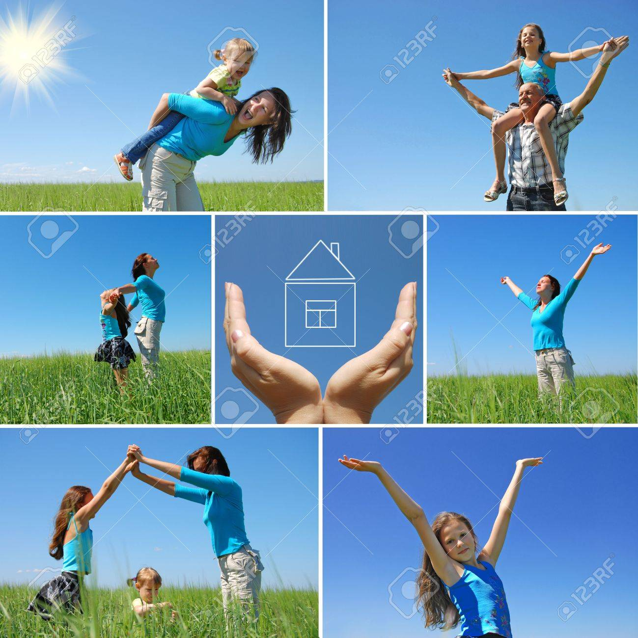 happy family outdoor in summer - collage Stock Photo - 5289574