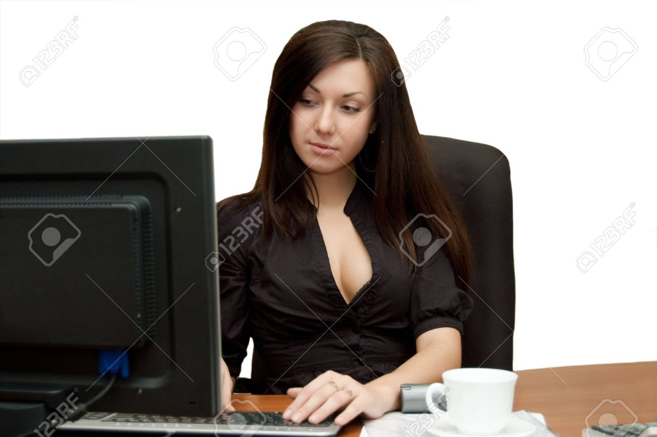 Girl in an armchair at the computer Stock Photo - 5884413