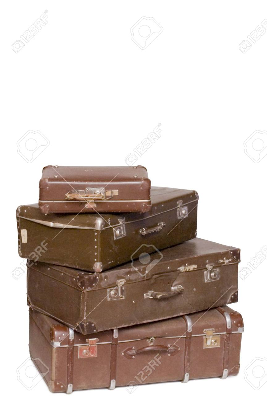 Heap of old suitcases isolated on white Stock Photo - 6337036