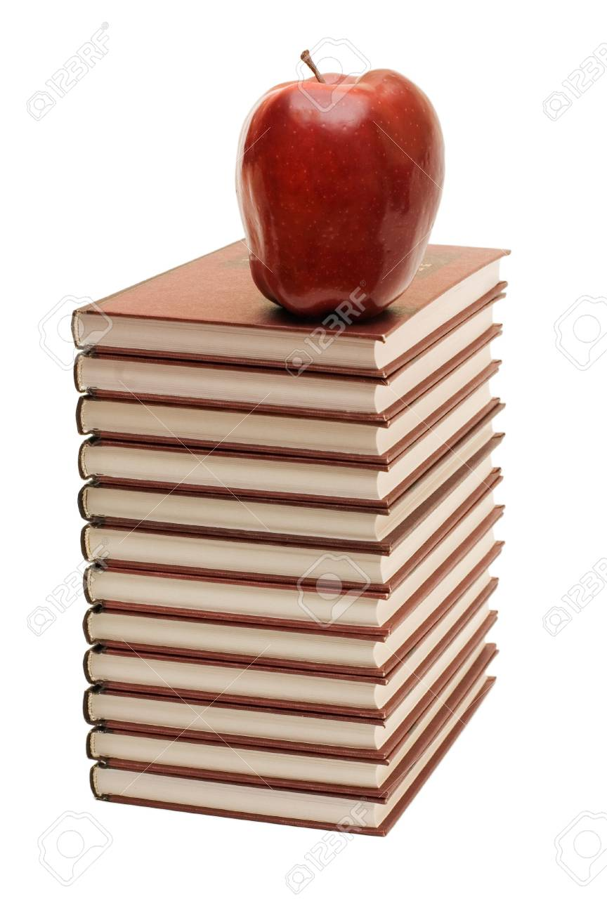 Stack of books and apple isolated Stock Photo - 6578278