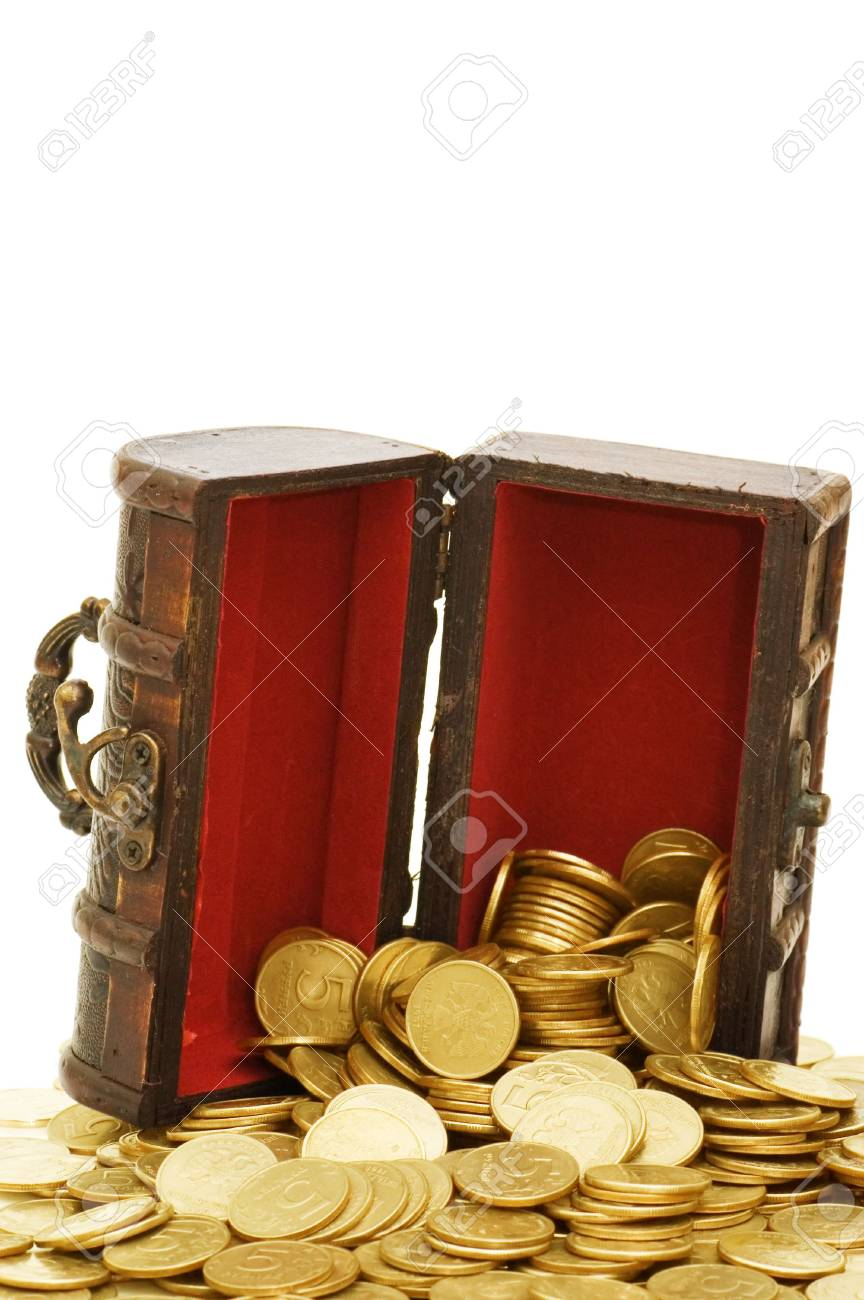 Wooden casket full of coins isolated on white Stock Photo - 6818325