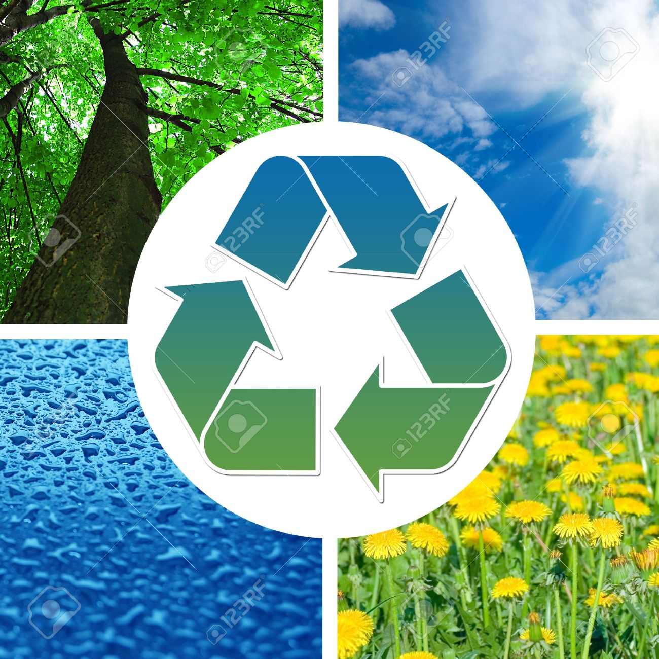 Conceptual recycling sign with images of nature Stock Photo - 7132058