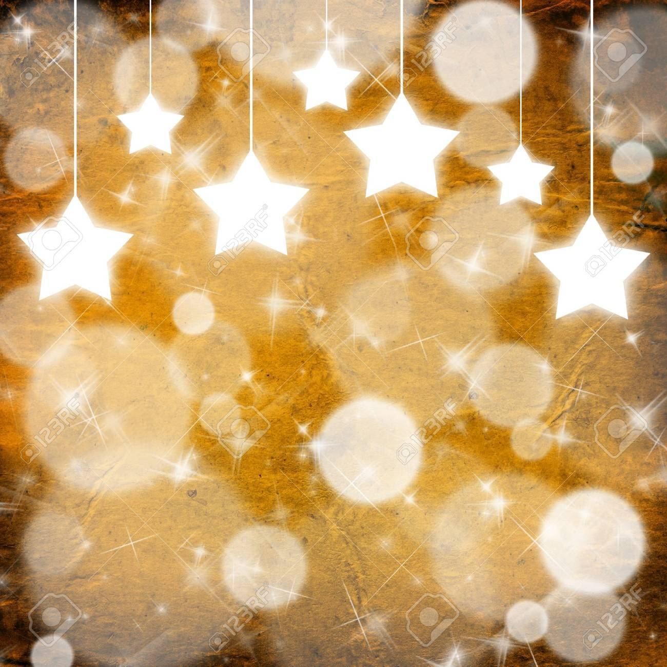 Yellow Christmas background with stars Stock Photo - 8338573